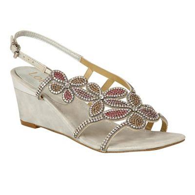 Lotus - Silver diamante 'Annabella' mid wedge heel slingbacks