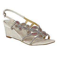 Lotus - Silver diamante 'Annabella' mid wedge heel slingbacks