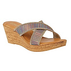 Lotus - Multi-coloured 'Arika' mid wedge heel mules