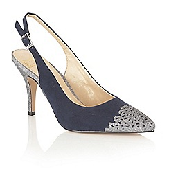 Lotus - Navy suedette 'Arlind' high stiletto heel slingbacks