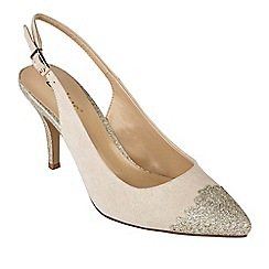Lotus - Natural suedette 'Arlind' high stiletto heel slingbacks