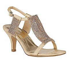Lotus - Gold diamante 'Aspey' high heel T-bar sandals