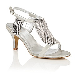 Lotus - Silver diamante 'Aspey' high heel T-bar sandals