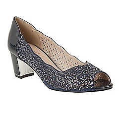 Lotus - Navy diamante 'Attica' mid block heel peep toe shoes