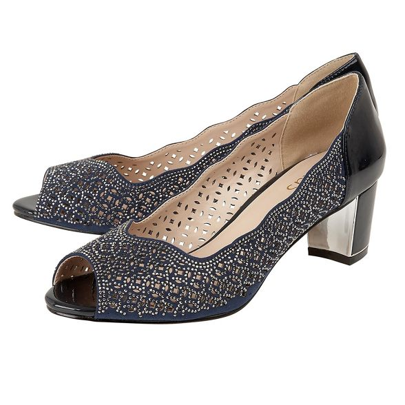 heel Lotus 'Attica' peep block toe diamante shoes mid Navy HxHwX
