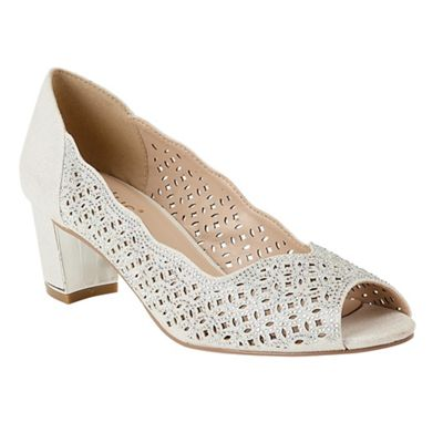 Lotus - Silver diamante 'Attica' mid block heel peep toe shoes