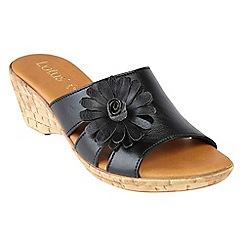 Lotus - Black 'Baili' mid wedge heel mules