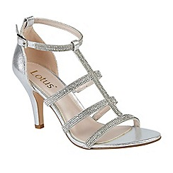 Lotus - Silver diamante 'Bixby' high stiletto heel T-bar sandals