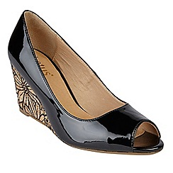 Lotus - Black patent 'Cabina' mid wedge heel peep toe shoes