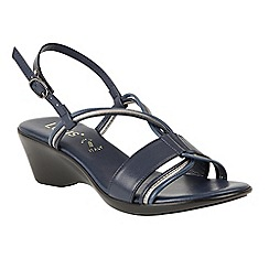 Lotus - Navy 'Carrara' mid wedge heel slingbacks