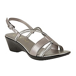 Lotus - Dark grey 'Carrara' mid wedge heel slingbacks
