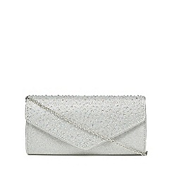 Lotus - Silver diamante embellished clutch bag