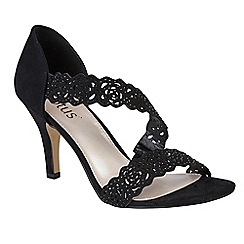Lotus - Black diamante 'Cattleya' high stiletto heel peep toe sandals