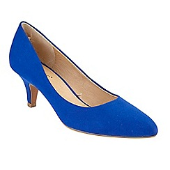 Lotus - Blue suedette 'Clio' mid kitten heel court shoes