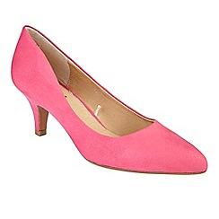 Lotus - Bright pink suedette 'Clio' mid kitten heel court shoes
