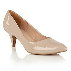 Lotus - Natural patent 'Clio' mid kitten heel court shoes