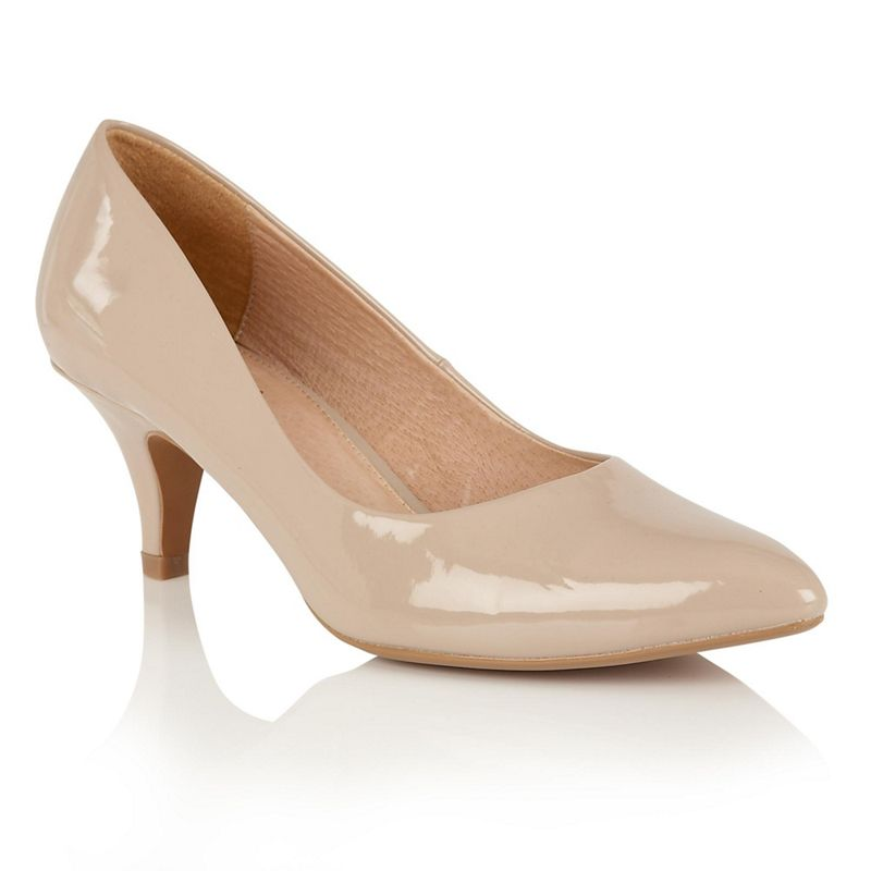 Lotus - Nude Patent Clio Mid Kitten Heel Court Shoes