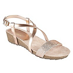 Lotus - Rose diamante 'Cuba' mid wedge heel peep toe sandals