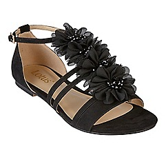 Lotus - Black suedette 'Elise' ankle strap sandals