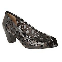 Lotus - Black patent 'Filbert' mid block heel peep toe shoes