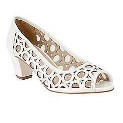 Lotus - White patent 'Filbert' mid block heel peep toe shoes
