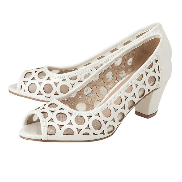patent peep shoes block 'Filbert' toe White heel mid Lotus 8ZWYTRUqY