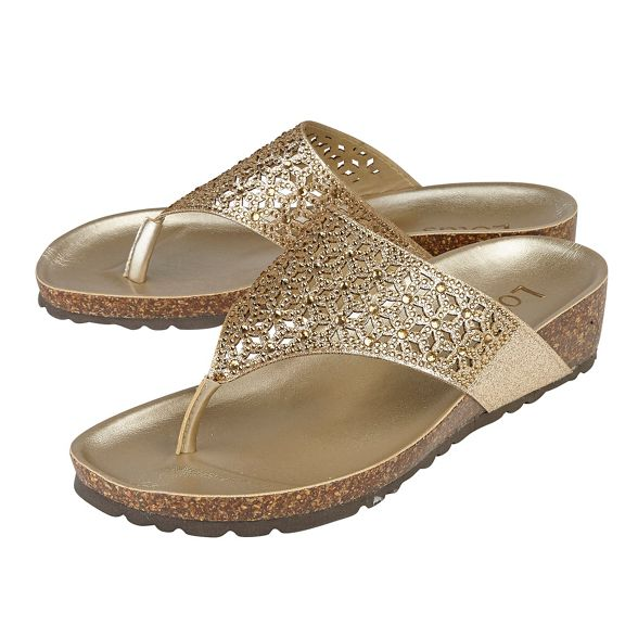 sandals 'Forsetti' Gold mid diamante wedge Lotus heel EY16A