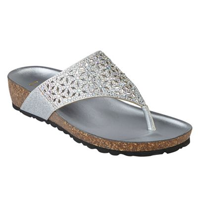 Lotus - Silver diamante 'Forsetti' mid wedge heel sandals