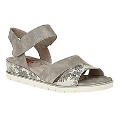 Lotus - Silver 'Giannone' mid wedge heel open toe sandals