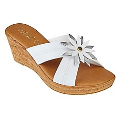 Lotus - White 'Japonica' mid wedge heel mules