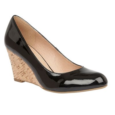 Lotus - Black patent 'Jelico' mid wedge heel court shoes