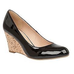 Lotus - Black patent  Jelico  mid wedge heel court shoes c0aff021d8f
