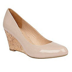 Lotus - Natural patent 'Jelico' mid wedge heel court shoes