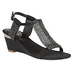 Lotus - Black diamante 'Klaudia' mid wedge heel T-bar sandals