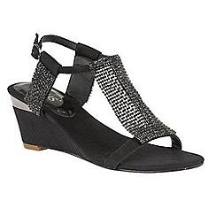 Lotus - Black diamante 'Klaudia' mid wedge heel T-bar sandals