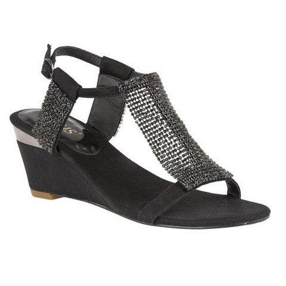 Lotus Black T wedge sandals diamante bar mid heel 'Klaudia' ppnFqrU