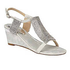 Lotus - Silver diamante 'Klaudia' mid wedge heel T-bar sandals
