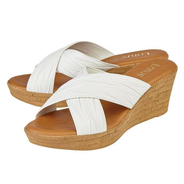 Lotus 'Latimer' mules wedge mid White heel rBYrqSw