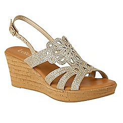 Lotus - Gold diamante 'Ludisa' mid wedge heel slingbacks