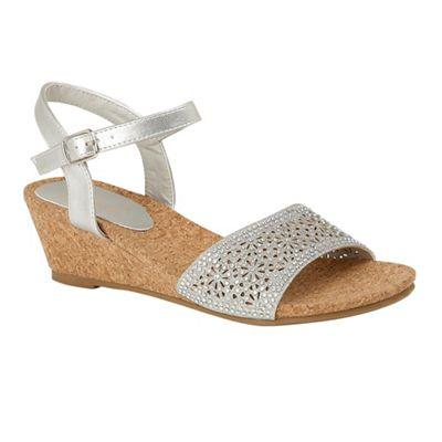 Lotus - Silver Silver Silver diamante 'Lugalo' mid wedge heel peep toe sandals 815909