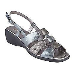Lotus - Dark grey 'Mississippi' mid wedge heel slingbacks