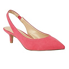 Lotus - Bright pink suedette 'Misty' mid kitten heel slingbacks