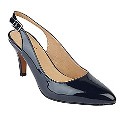 Lotus - Navy patent 'Nadia' mid heel slingbacks