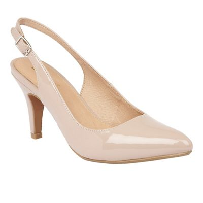 Lotus - Natural patent 'Nadia' mid heel slingbacks