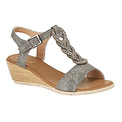 Lotus - Dark grey 'Orta' mid wedge heel T-bar sandals