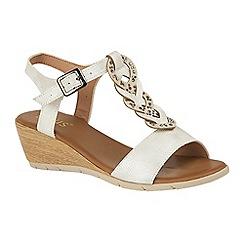 Lotus - White 'Orta' mid wedge heel T-bar sandals