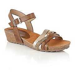 Lotus - Tan diamante 'Pika' mid wedge heel sandals
