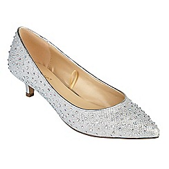 Lotus - Silver diamante 'Pinnacle' mid kitten heel court shoes
