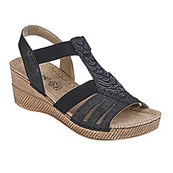 Lotus - Black 'Saltaran' mid wedge heel T-bar sandals