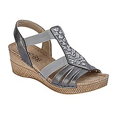 Lotus - Grey 'Saltaran' mid wedge heel T-bar sandals